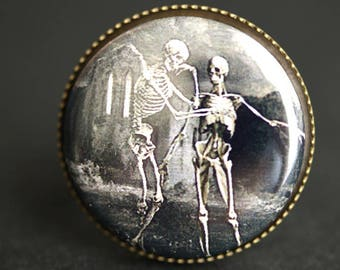 Gothic Skeleton Ring. Halloween Ring. Goth Ring. Graphic Button Ring. Graveyard Ring. Adjustable Ring. Bronze Ring. Goth Jewelry.