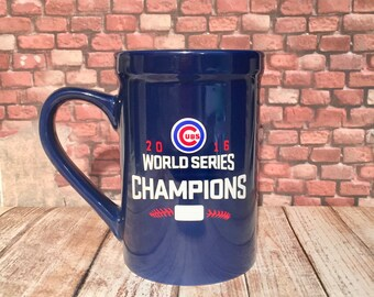 Chicago Cubs 2016 World Series Commemorative 16oz Blue Stoneware Coffee Mug which can be personalized on back of mug