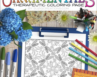 """Dragonfly Coloring Page - """"Dragonflies Dance"""" OrnaMENTALs #0043 PDF - Hand-Crafted Coloring Pattern"""