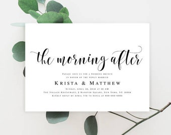 Post wedding brunch invitation Editable template Editable invitation Printable invitation templates Boho wedding Template download DIY #vm31