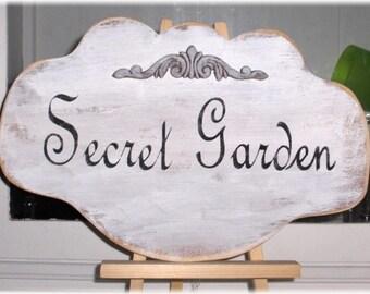 Secret Garden Shabby Cottage Chic White Wood Sign Paris French Custom
