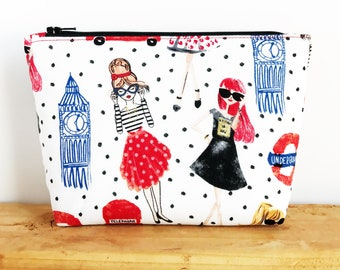 London Gifts - Best Friend Gift - Paris Gifts - Cute Makeup Bag - Small Cosmetic Bag - Polka Dot Bag - Travel Pouch - Travel Gifts