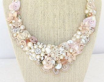 Soft Pink Bridal Necklace- Pearl and Rhinestone Necklace-Romantic bridal Bib- Champagne Pink Necklace- Statement Necklace-Blush Bridal Bib