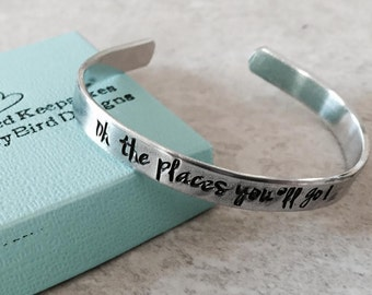 SALE! Oh the places you'll go bracelet graduation gift class of 2017 2018 2019 personalized bracelet congrats monogrammed custom jewelry