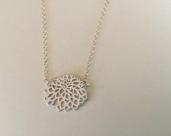 Silver Flower Necklace | Floral Necklace | Silver Dahlia Necklace | Sterling Silver Jewelry | Minimalist Jewelry | Layering Jewelry