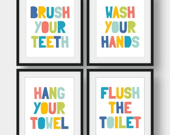 60% OFF Kids Bathroom Set Of 4 Prints, Bathroom Rules, Brush Your Teeth, Wash Your Hands, Kids Bathroom Decor, Bathroom Printable Art