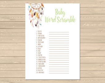 Dreamcatcher Printable Baby Word Scramble Game, Boho Hippie Word Scramble Activity, Tribal Baby Shower, Neutral Game, Instant Download 022-N