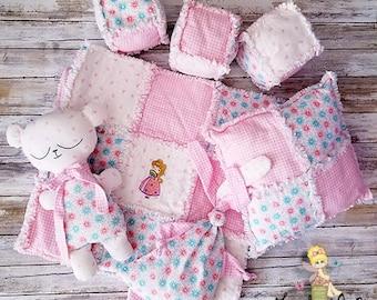 Handmade Princess Rag Quilt - Nursery Decor - Pillow and Soft Toy set - Teddy Bear - Soft Blocks - Pillow - Lovie - Baby Shower Gift