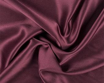 Burgundy Silk Crepe Back Satin, Fabric By The Yard