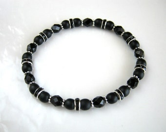 Silver and Black Stretch Bracelet Black Rhinestone Bracelet Black Beaded Bracelet