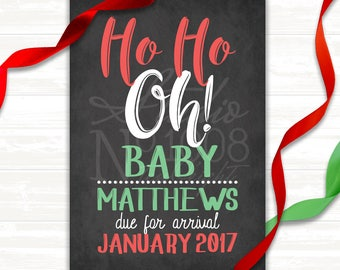 Pregnancy Announcement - Photo Announcement - Holiday - Ho Ho Oh! - Digital File
