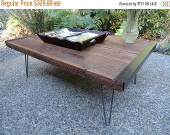"""Limited Time Sale 10% OFF Custom for Laura 24""""x 48""""x 16"""" Coffee Table from old barn wood with straight steel legs"""
