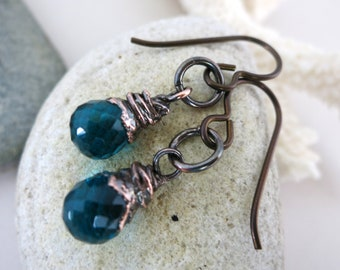 "Teal Quartz Drops Earrings, Electroformed Copper, Niobium Earwires, 1 1/4"" Drop, Faceted Gemstone Earrings"