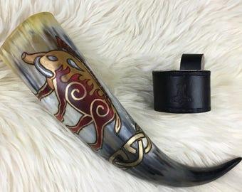Viking Drinking Horn - Gullinbursti Freyr's Boar - Painted Drinking Horn - Viking Horn Cup - Mead Horn - Viking Reenactment - Ren Faire