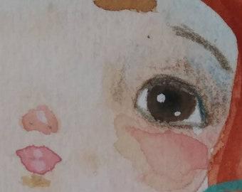 Whimsical girl, watercolor original painting, watercolor art, wall decor