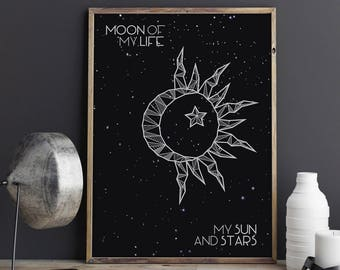 Moon of My Life My Sun and Stars, Game of Thrones Poster, Couples Gift, Daenerys Targaryen, Game of Thrones Wall Art, Valentine's Gift