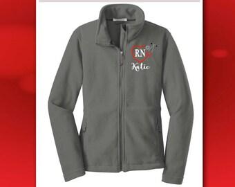 Nurse Jacket, Ladies Monogrammed Fleece Jacket, Embroidered Stethoscope, Full Zip Fleece Jacket Personalized, Heart Stethoscope Monogram