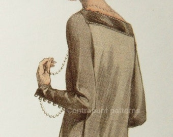 1920s dress pattern with straight cascade back, button details on the sleeves and double skirt.