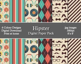 Hipster Digital Patterned Paper Pack