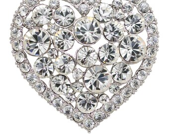 Swarovski Elements Crystals Heart Brooch Pin - Clear