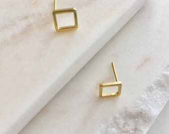 Tiny Gold Square Stud Earring Hollow Square Earring Gold Jewelry Geometric Earring Minimalist Jewelry  Minimalist Bridesmaid Gift