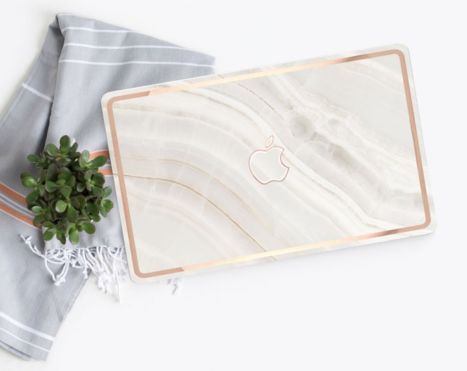 Featured listing image: Macbook Pro 13 Case Macbook Air Case Laptop Case Macbook Decal White Marble Stone with Rose Gold Chrome Edge Detailing