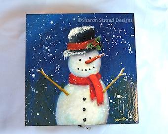 Happy Snowman Box, 7x7 Wooden Christmas Box, Wood Gift Box