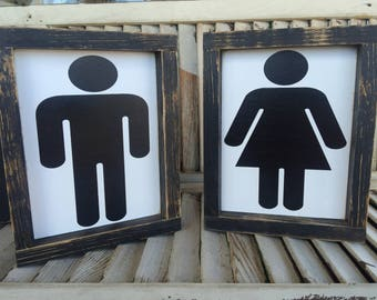 Farmhouse style, distressed framed boy and girl bathroom signs