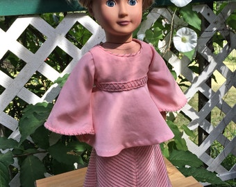18 INCH DOLL CLOTHES. This flowing pink doll's top and mitered doll's maxi skirt for 18 inch dolls is garden party perfect.