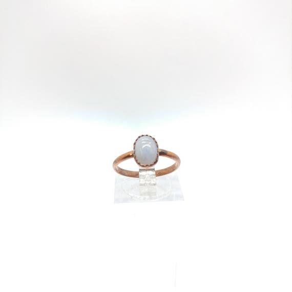 Simple Moonstone Ring | Rainbow Moonstone Ring | Copper Ring Sz 6.5 | Simple White Ring | June Birthstone Ring | Blue Moonstone