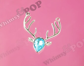 1 - Silver Tone Light Blue Reindeer Doe Crystal Rhinestone Connector Charm Pendant, Deer Charm, Reindeer Charm, 37mm x 40mm (R8-039)