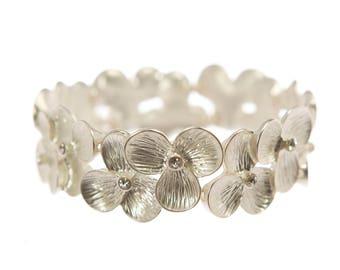 Diane Katzman Silver Petal Stretch Bracelet