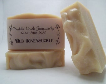Wild Honeysuckle Goat Milk Soap with Olive Oil, Rice Bran Oil, Shea Butter, Natural Color