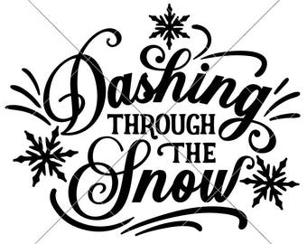 Dashing through the Snow SVG eps dxf png   Files for Cutting Machines like Silhouette Cameo and Cricut, Commercial Use Digital Design