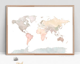 WATERCOLOR MAP of the World PRINTABLE, Large Blue Beige World Map Print, World Map Wall Art, Color Map Print, Digital Download World Map