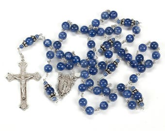 Blue Kyanite Rosary Gift for Catholic Women - Handmade Heirloom Rosaries with 8mm Smooth Gemstone Beads & Bali Sterling Silver Bead Caps
