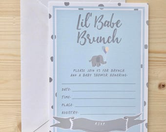 Lil Babe Brunch Blue Baby Shower Invitation | fill-in-the-blank