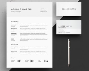 Resume Template 2 page | CV Template + Cover Letter + Business Card for MS Word | Instant Digital Download | 'Pack'