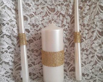 Wedding Unity Candle set embellished with Gold Rhinestone Mesh Trim