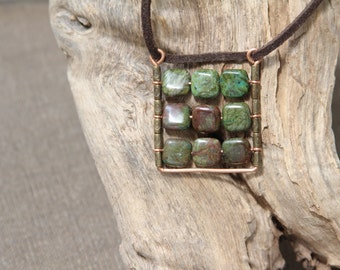 Square Pendant Abacus Pendant Boho plaid pendant Green gemstone pendant.