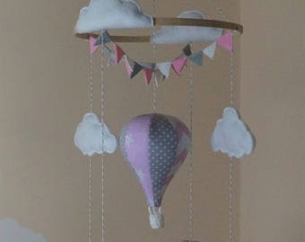 Hot air balloon baby mobile with bunting pink chevron, stars and grey polka