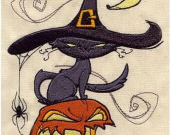 Spooky Cat Embroidered Halloween Handtowel
