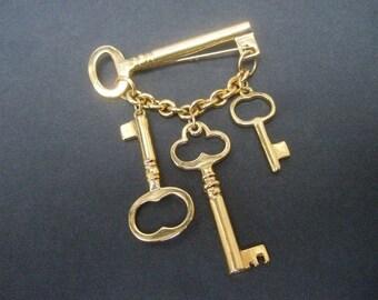 Unique Gilt Metal Dangling Key Charm Brooch
