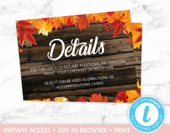 Fall Leaves Rustic Wood Wedding Invitation Details Card