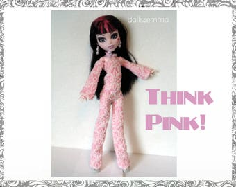 Monster High Doll Clothes - THINK PINK! Funky Jumpsuit and Jewelry Set - Handmade Fashion by dolls4emma