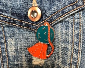Teal and orange enamel pin