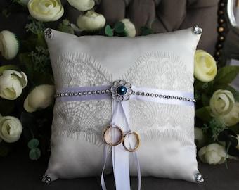 Wedding ring pillow, white ring holder-something blue 21cm x 21cm
