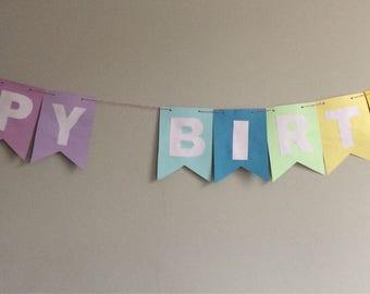 Happy Birthday rainbow card bunting