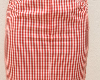 Vintage vichy red and white skirt Size 36 FR