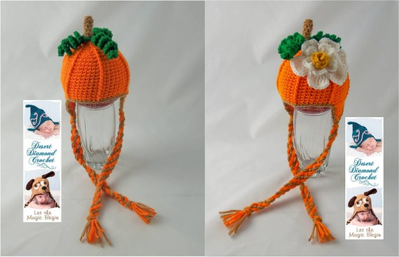 Pumpkin Earflap Beanie - Any Size - Optional Pumpkin Blossom